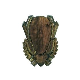 Scudetto per capriolo intagliato con foglie e ghiande in tiglio - UOMINI DEI BOSCHI