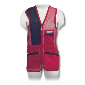Gilet in rete trap con riporti in pelle blu - CBC