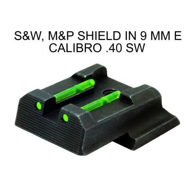Tacca di mira in fibra verde per pistola smith & wesson, m&p shield in 9 mm e calibro .40 sw - SAG NATURE
