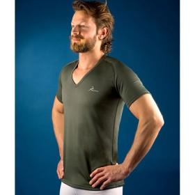 PROGAME-25 Man V neck T-shirt FALL/WINTER in green colour - KONUS