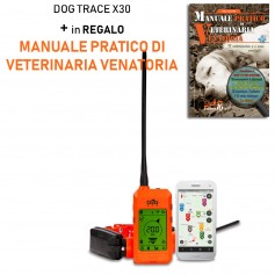 Palmare e Collare satellitare con mappe e modulo correttivo Dogtrace DOG GPS X30T + Manuale Pratico di Veterinaria Venatoria