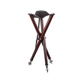 Sgabello a tre gambe in legno e pelle richiudibile - DORR