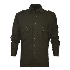 Camicia multitasche in cotone Rip Colore Verde - UDB