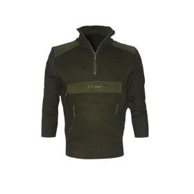 Maglione misto lana 1/2 zip Verde - UDB