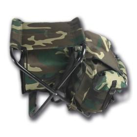Sediolino da caccia con zaino e borsa termica staccabile colore Woodland - UDB